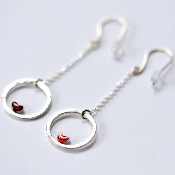 Boucles d'oreilles pendantes coeur Valentine en argent massif  Valentine 57,00€