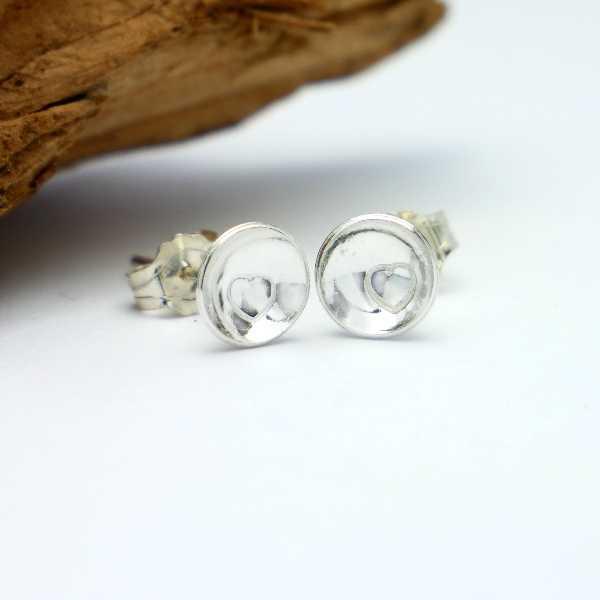 Minimalistische kleine Sterling Silber Hertz Ohrringe  MIN 25,00€