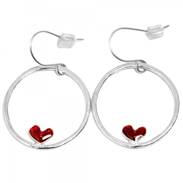 Boucles d'oreilles coeur rouge Valentine en argent massif Valentine 67,00€