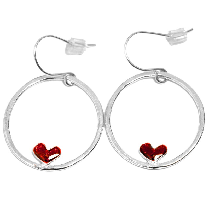 Valentine red heart earrings. Sterling silver.  Valentine 67,00€