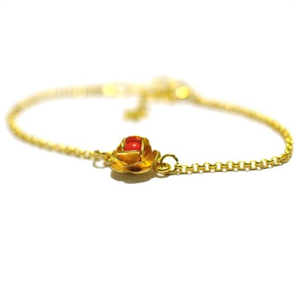 Petit bracelet fleur Rose rouge vif doré à l'or fin Rose 35,00€