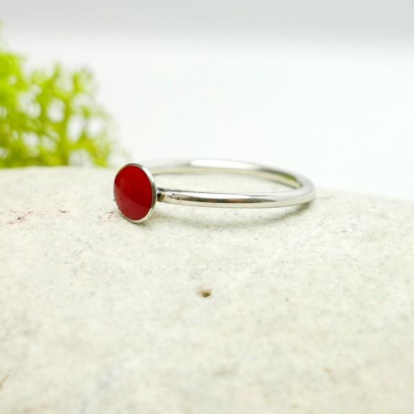 Minimalistischer kleiner Sterling Silber Ring mit Mohnblumen rotes Harz NIJI 25,00€