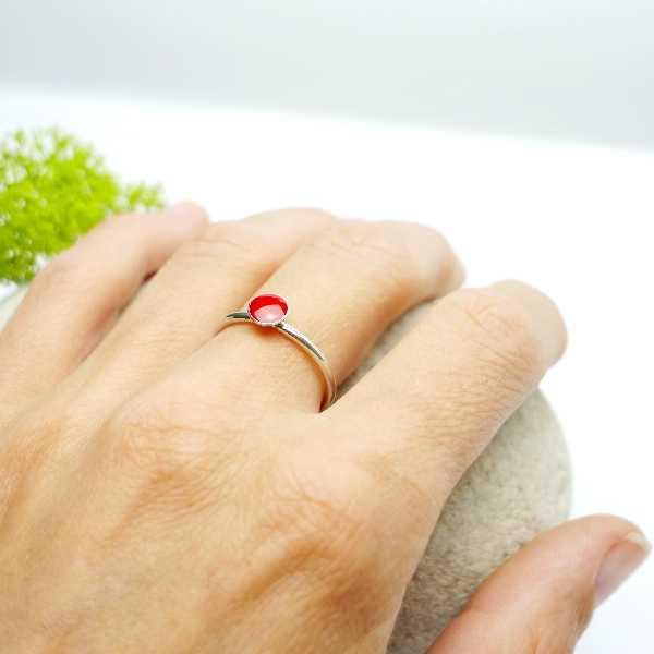 Petite bague rouge coquelicot en argent 925 collection Niji  NIJI 25,00€