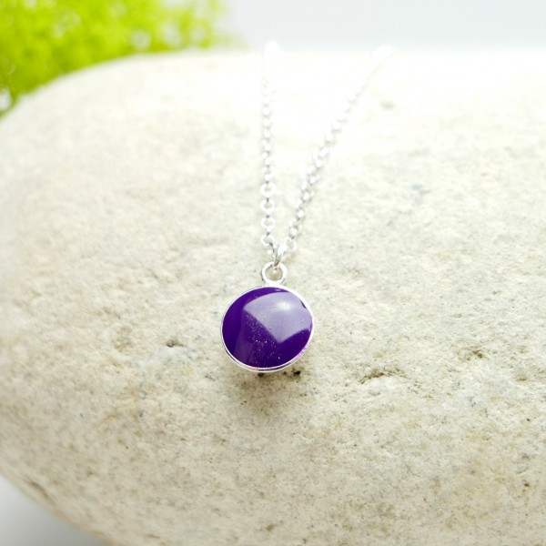 Sterling silver purple pendent with chain  NIJI 27,00 €