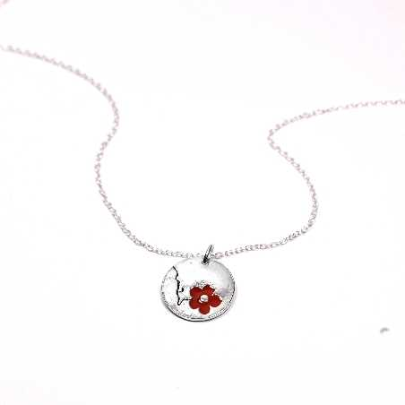 Cherry Blossom small round necklace. Sterling silver and resin.  Cherry Blossom 65,00€