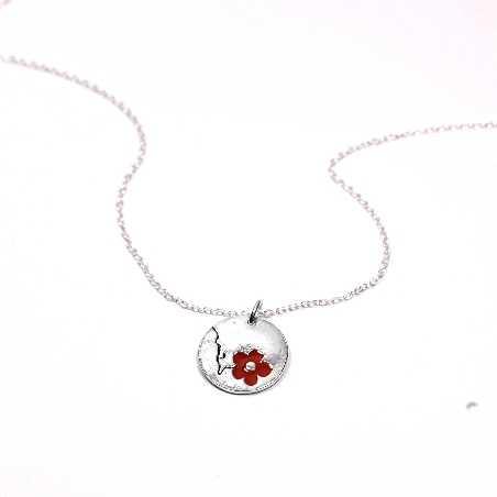 Petit collier rond Fleur de Cerisier en argent massif et resine  Fleurs de Cerisier 65,00€