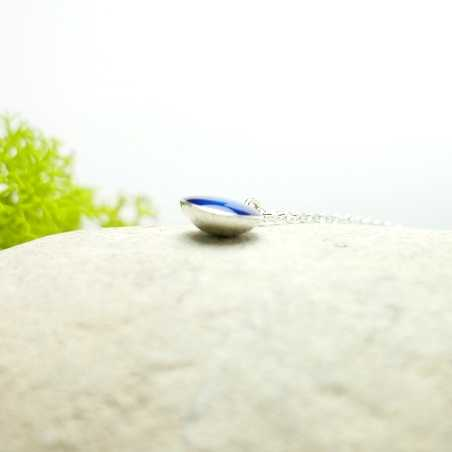 Sterling silver transluscent blue pendent with chain Desiree Schmidt Paris NIJI 27,00€