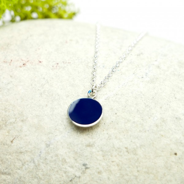 Sterling silver dark blue pendent with chain Desiree Schmidt Paris NIJI 27,00 €