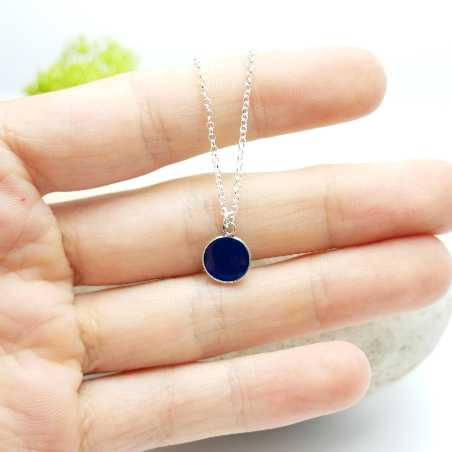 Sterling silver dark blue pendent with chain NIJI 27,00 €