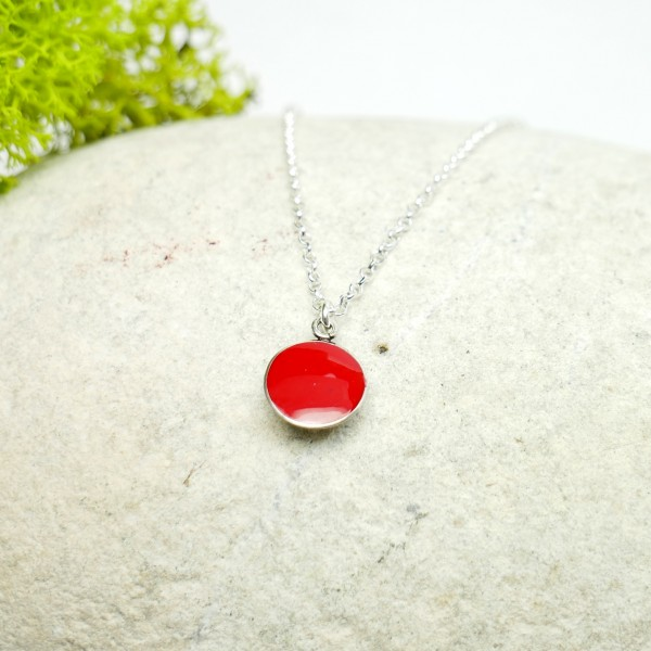 Sterling silver poppy flower red pendent with chain Minimalist necklaces 27,00€