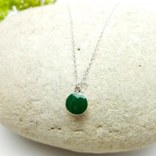 Sterling silver fir green pendent with chain Desiree Schmidt Paris NIJI 27,00€
