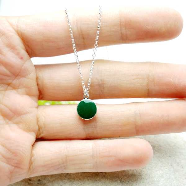 Sterling silver fir green pendent with chain  NIJI 27,00 €