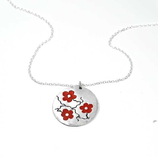 Woman necklace silver 925 red flower made in FranceDesiree Schmidt Paris Cherry Blossom 77,00€