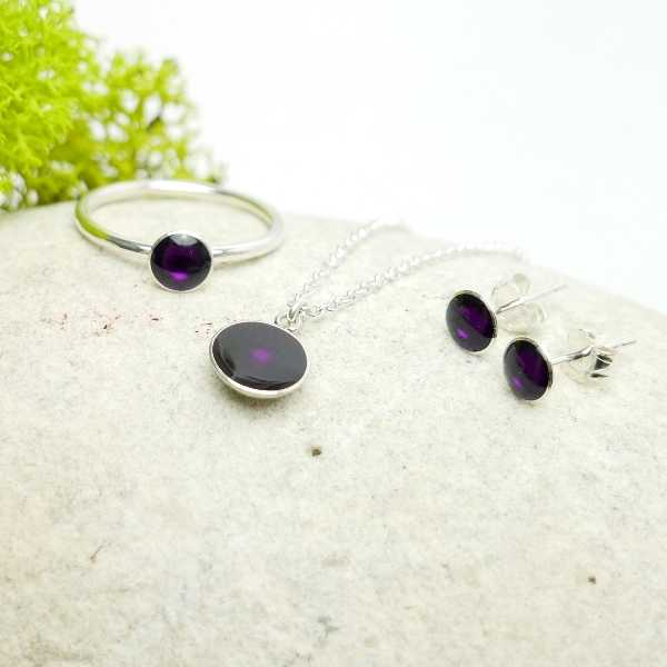 Sterling silver dark purple pendent with chain NIJI 27,00 €