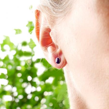 Petites boucles d'oreilles puces en argent 925 et résine violette collection Niji  NIJI 25,00€