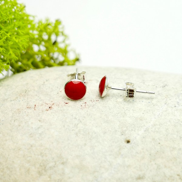 Sterling silver minimalist earrings with poppy flower red resin  NIJI 25,00 €