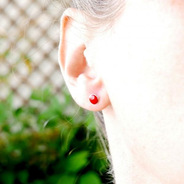 Sterling silver minimalist earrings with poppy flower red resin NIJI 25,00€