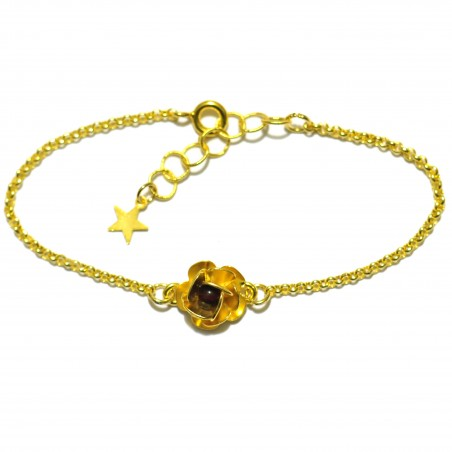 Petit bracelet fleur Rose rouge gre doré à l'or fin  Rose 35,00€