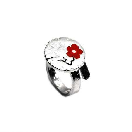 Red Cherry Blossom adjustable sterling silver ring  Cherry Blossom 79,00€