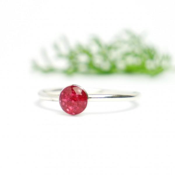 Minimalistischer kleiner Sterling Silber Ring Mit Pailletten besetztes Rosa Harz NIJI 25,00€