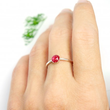 Little sterling silver ring with pink sequined resin NIJI 25,00€
