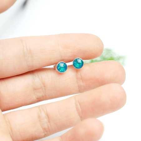 Minimalistische kleine Sterling Silber Ohrringe mit Pailleten besetztes blaues Harz NIJI 25,00€