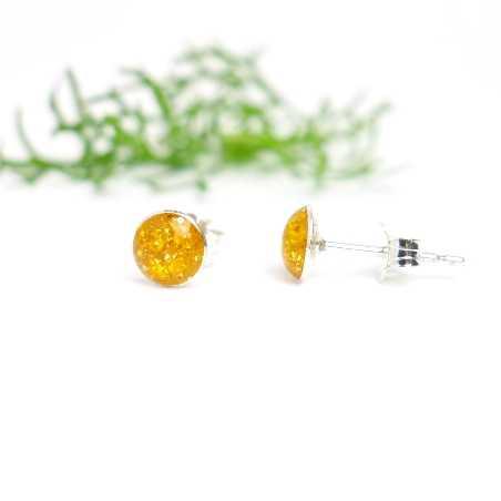 Minimalistische kleine Sterling Silber Ohrringe mit Pailleten besetztes Bernsteingelbes Harz NIJI 25,00€