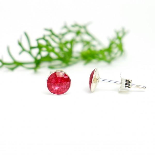 Minimalistische kleine Sterling Silber Ohrringe mit Pailleten besetztes Rosa Harz  NIJI 25,00€