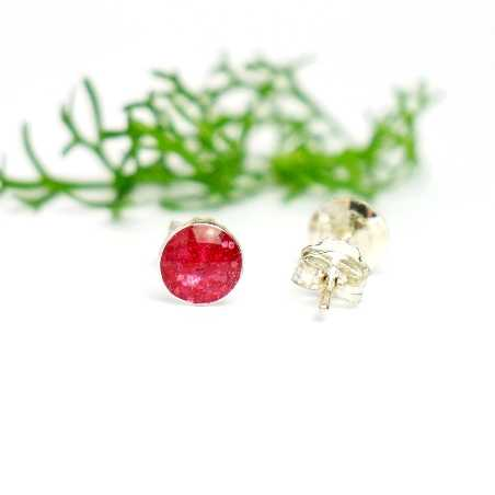 Sterling silver minimalist earrings with sequined pink resin NIJI 25,00€