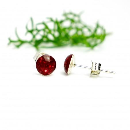 Sterling silver minimalist earrings with sequined garnet red resin  NIJI 25,00€