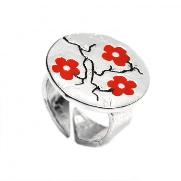 Rote Kirschblumen Sterling Silber verstellbarer Ring Kirschblumen 107,00€
