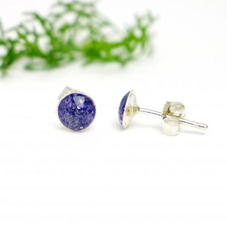 Sterling silver minimalist earrings with sequined purple resin NIJI 25,00€