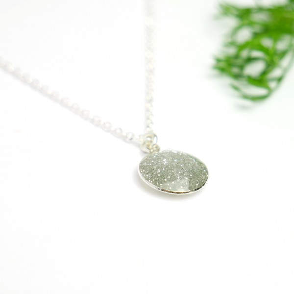 Sterling silver sequined silver pendent with chain NIJI 27,00 €