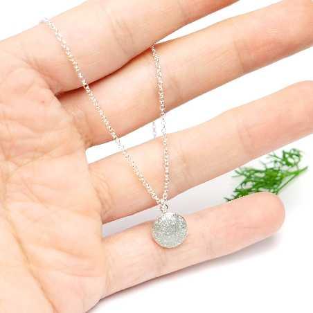 Sterling Silber mit Pailleten besetztes graues Harz Anhänger mit Kette  NIJI 27,00€