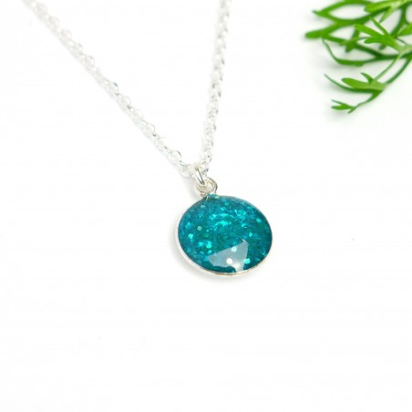 Sterling silver sequined blue pendent with chain Desiree Schmidt Paris NIJI 27,00€