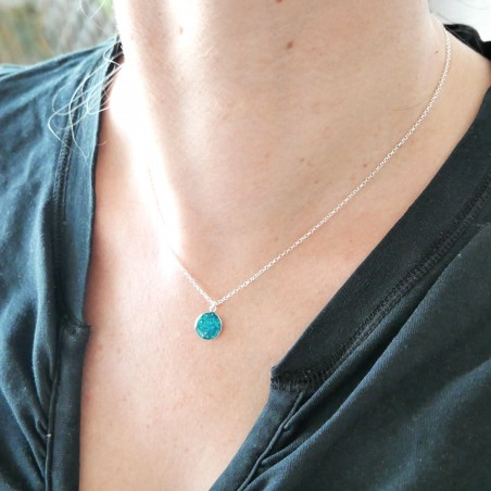 Sterling silver sequined blue pendent with chain  NIJI 27,00 €