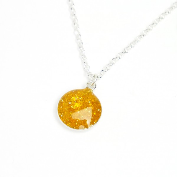 Sterling silver sequined amber yellow pendent with chain NIJI 27,00€