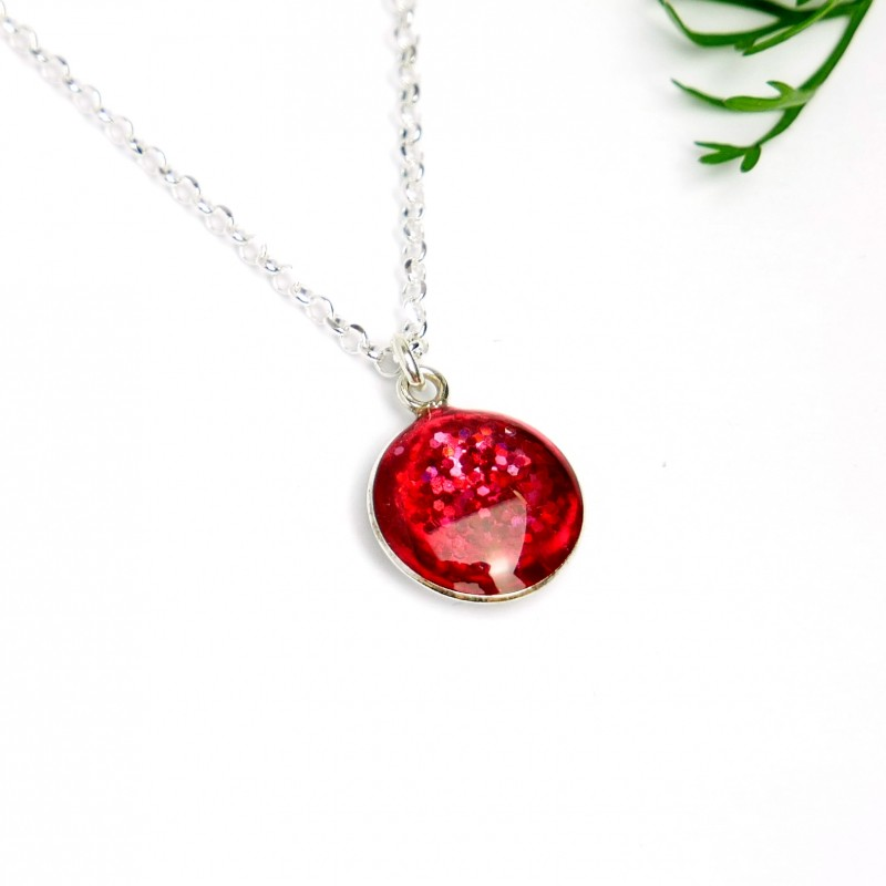 Sterling silver sequined pink pendent with chain Desiree Schmidt Paris NIJI 27,00€