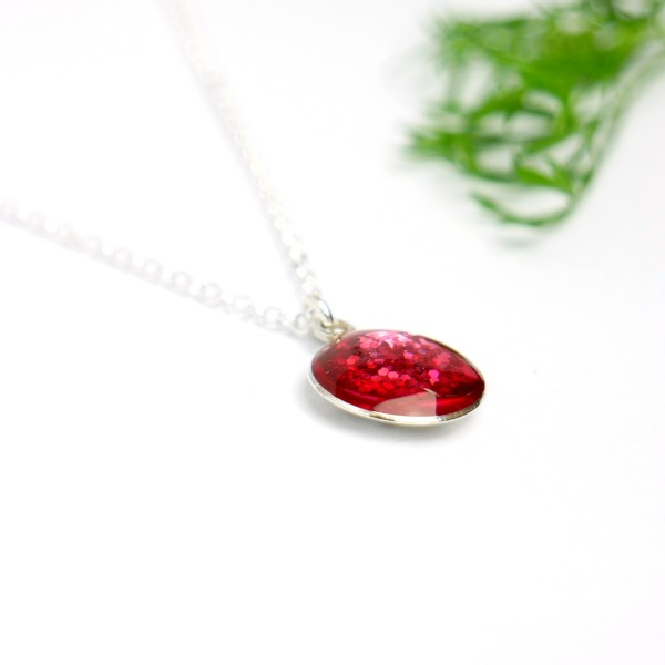 Sterling silver sequined pink pendent with chain  NIJI 27,00€