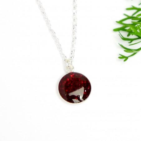 Collier Valentine oval en argent massif et résine violette