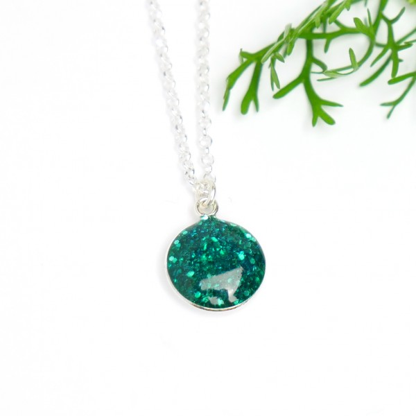 Sterling silver sequined duck green pendent with chain NIJI 27,00€