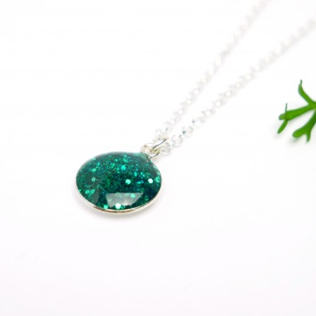 Sterling silver sequined duck green pendent with chain Desiree Schmidt Paris NIJI 27,00 €