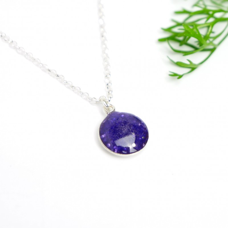Sterling silver sequined purple pendent with chain Desiree Schmidt Paris NIJI 27,00€