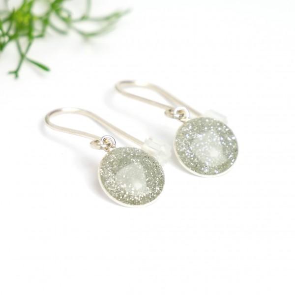 Sterling silver grey sequins minimalist pendent earrings NIJI 30,00€
