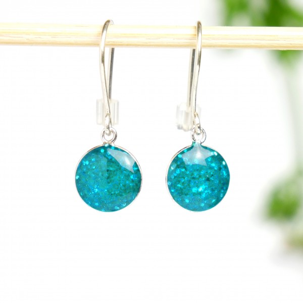 Sterling silver blue sequins minimalist pendent earrings  NIJI 30,00 €