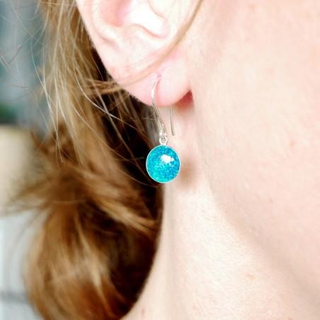 Boucles d'oreilles pendantes bleu azur pailleté en argent 925  NIJI 30,00€