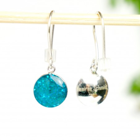Minimalistische lange Sterling Silber Ohrringe mit Pailletten besetztes Blaues Harz NIJI 30,00€