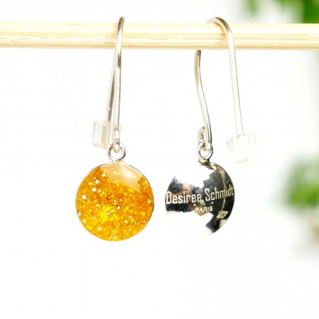 Sterling silver amber yellow sequins minimalist pendent earrings  NIJI 30,00 €