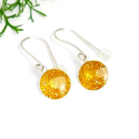 Sterling silver amber yellow sequins minimalist pendent earrings NIJI 30,00€