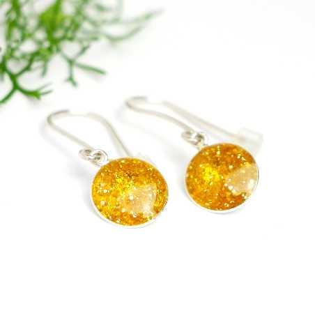 Boucles d'oreilles pendantes jaune ambrepailleté en argent 925  NIJI 30,00€